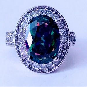 NEW! SPARKLING LARGE RAINBOW TOPAZ 925 SILVER RING